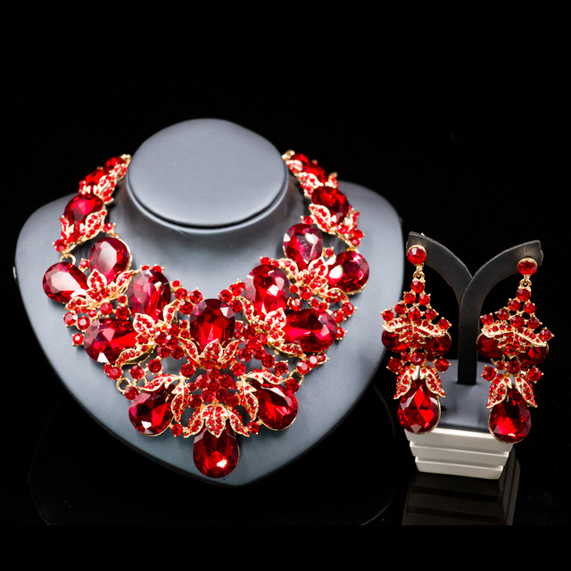 Lan palace Luxury costume jewelry necklace sets gold color dubai