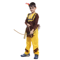 4 Pcs Child Boys Native American Indian Cosplay Costume Soldiers Warrior Fancy Dress Birthday Party Halloween