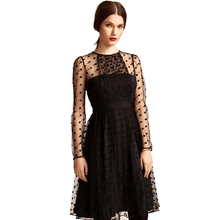 Sexy Polka Dot Tulle Summer Dress Women Long Sleeve Fashion Mesh Transparent Ladies Hollow Out Party Club Vestido
