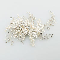 SLBRIDAL Handmade Silver Crystal Freshwater Pearls Flower Leaf Wedding Hair Clip Barrette Bridal Headpiece Hair comb accessories