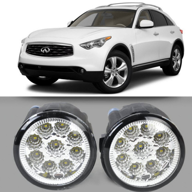 Car Styling For Infiniti Fx35 2006 2012 Fx37 2013 9 Pieces Leds Fog