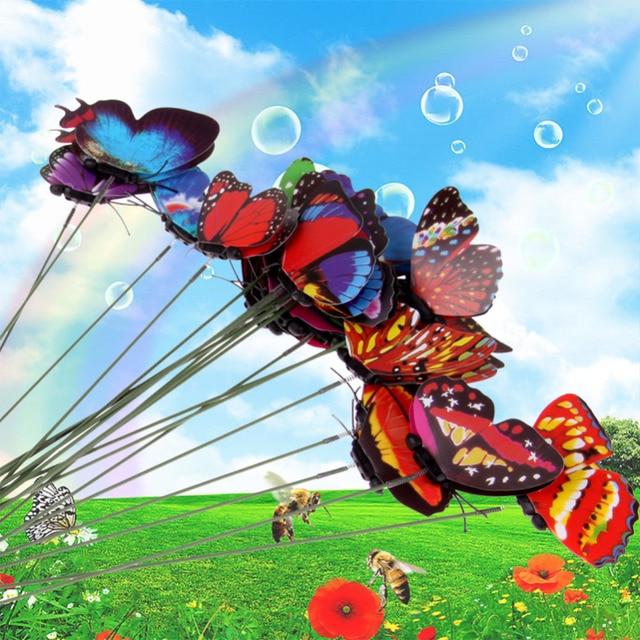 20Pcs Wholesale Colorful Butterfly On Sticks Garden Vase Lawn ...