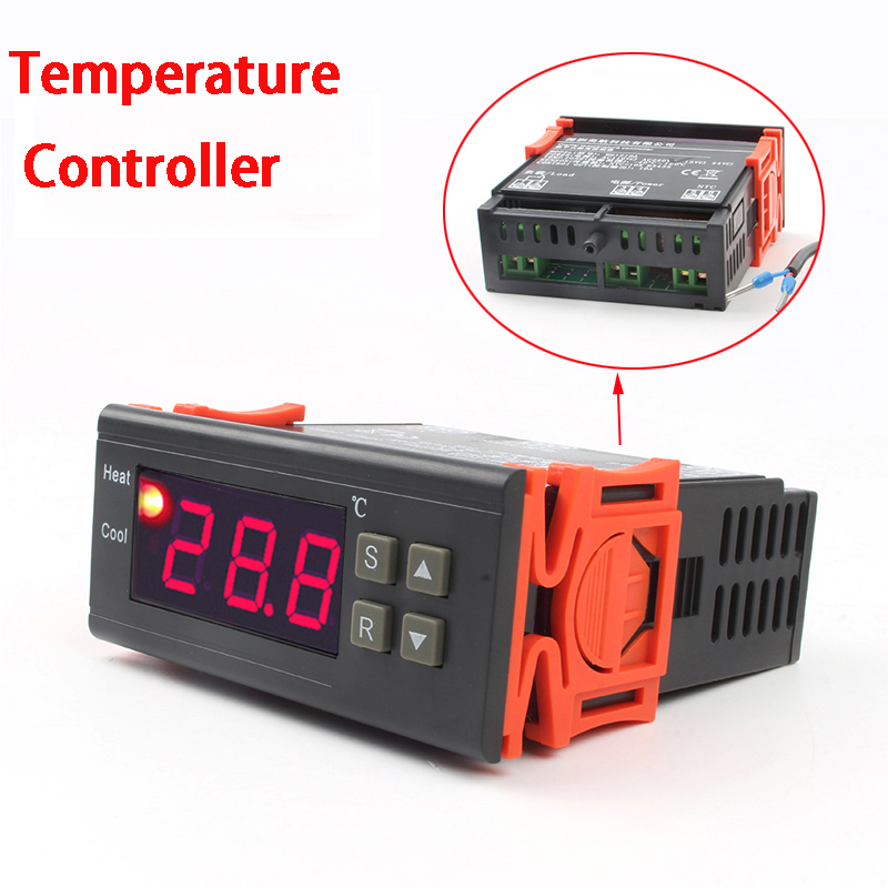 220V Multifunction Digital Temperature Controller Thermostat Input AC90-250V 12V 10A Temperature Regulator