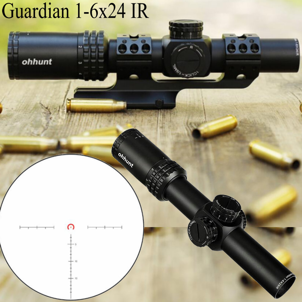 Guardian 1-6X24 IR Hunting Riflescopes Compact Glass Etched Reticle Llluminate Turrets Lock Reset Tactical Optical Sight Rifle