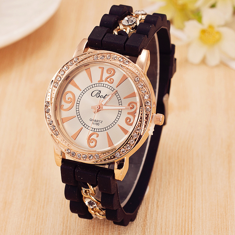Hot Sale New Luxury Brand Silicone Watch Women Dress Quartz Watch Gold Chain Rhinestone Bracelet Watches Relogio Feminino 2016 new hot sale brand magic star black white analog quartz bracelet watch wristwatches for women girls men lovers op001