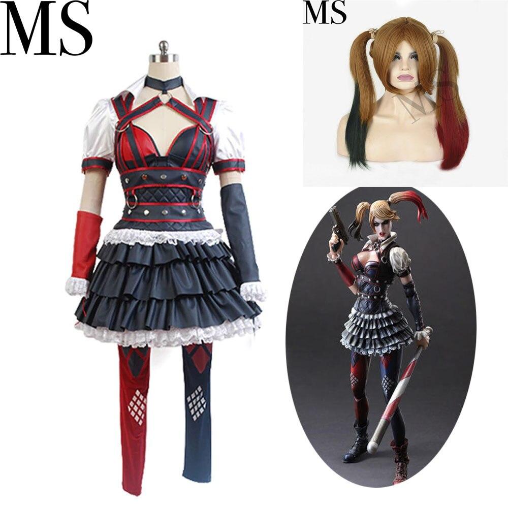 cosplay costume Batman Arkham Asylum Harley Quinn Cosplay Costumes Women Cosplay Halloween Party Full Set