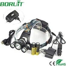 10000Lm BORUiT XM-L2 4 Modo de Faróis LED Recarregável Farol Lanterna Caça Head Lamp Luz Banco de Potência Por 18650 Bateria