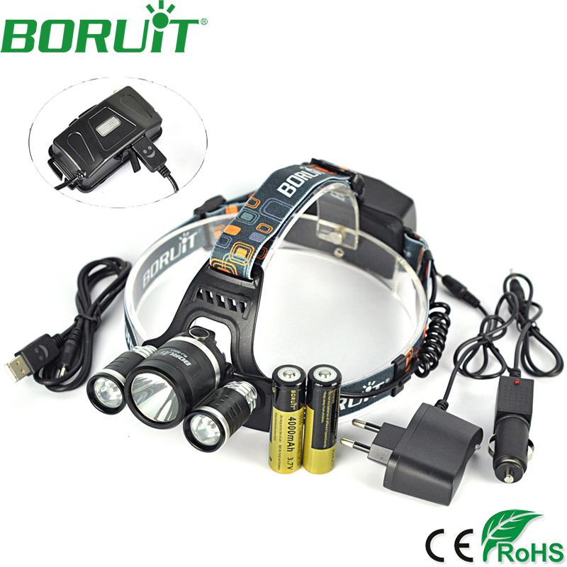BORUiT 10000Lm XM-L2 LED Headlights Rechargeable 4 Mode Headlamp Flashlight Hunting Head Lamp <font><b>Power</b></font> Bank Light By 18650 Battery