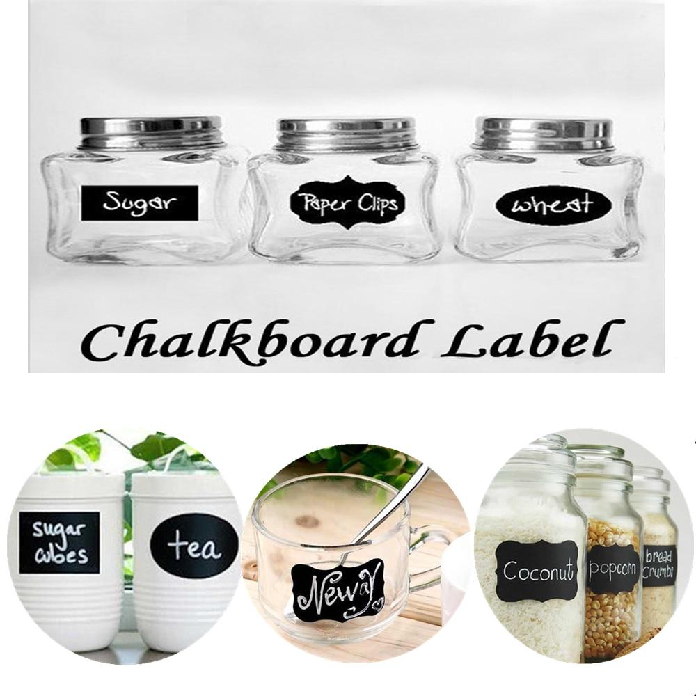 36 Vintage Retro Blackboard Craft Stickers Jar Jam Wedding Favour Label Chalk
