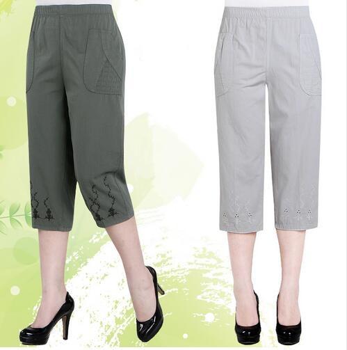 2019 Women High Waist Straight   Pants     Capris   Loose Plus Size Casual   Capris     Pants   Elastic Waist Cotton   Pants   Women
