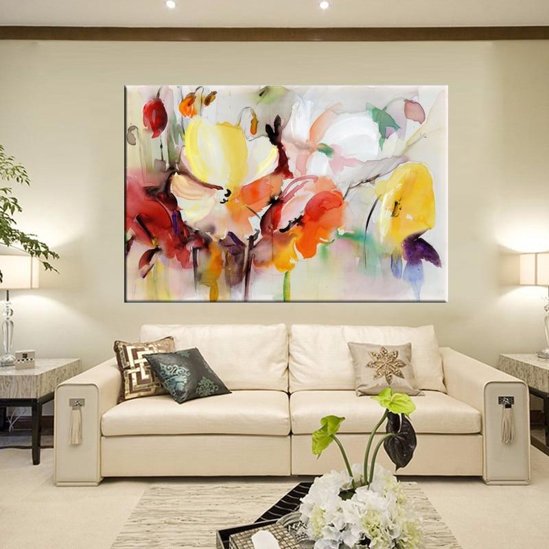 Pintura de flores na parede, pintura moderna de aquarela, pintada à mão, flores com estampa em tela, imagem para parede, decoração para sala de estar, para presente