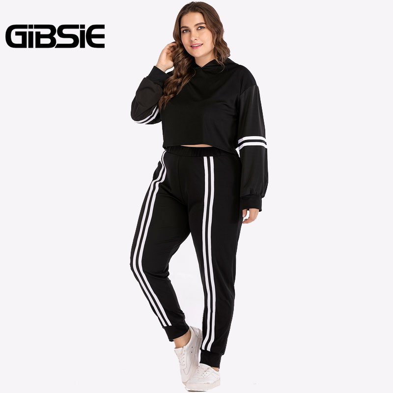 GIBSIE Plus Size Women Clothing 4XL XXXL Autumn Two Piece Set Top And Pants Striped Tracksuit Women Crop Top 2 Piece Outfits