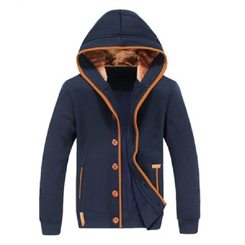 Для мужчин флис Локоть патч с капюшоном Однобортный Толстовки пальто мужской Повседневное Толстовка Куртка осень-зима Модные свитеры