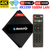 H96 Max RK3399 Android 7.1 CAIXA de TV 4g 32g Rom 2.4 + 5g Dupla Wifi 1000 m LAN Bluetooth 4.1 Inteligente Caixa de TV IP 4k Set Top Box|Conversor de TV| |  -