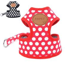 Cartoon Dot Pet Dogs Cloth Chest Harness Leads Soft Dog Chain Adjustable Dot Pattern Harness For Pets Leash