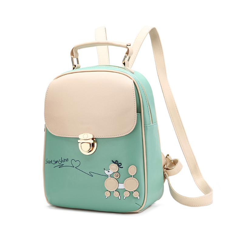 Homeda High Quality Solid PU Leather Women Backpack Fashion Small Shoulder Bag Cute Animal Pattern Mochila Escolar Feminia Z0031