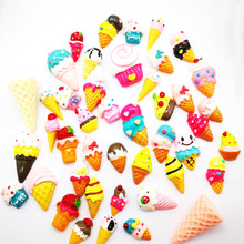 30pcs Mixed Ice Cream Series Resin Flatback Cabochon Hair Clip DIY Phone Case Handmade Home Crafts Decor Party Guests Gift