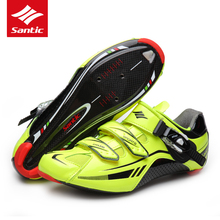 Santic Road Cycling Shoes PRO Carbon Fiber Road Bike Shoes Ultralight  Athletics Self-locking Bicycle Shoes Zapatillas Ciclismo