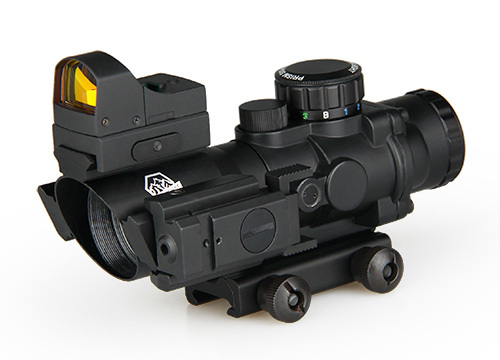 Tactical 4x32 Rifle Scope With Mini Red Dot And Red Laser Sight For Hunting Shooting CL1-0290 цены онлайн