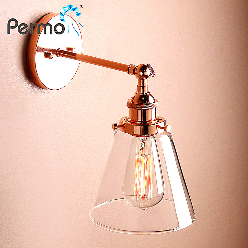 PERMO 6.3'' Funnel Glass Antique Bronze Sconce Wall Light Vintage Modern Metal Wall Lamps E27 Light Fixtures
