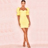 wholesale 2019 summer Newest Women dress Yellow short sleeve Fashion mini Sexy Celebrity Cocktail party dress