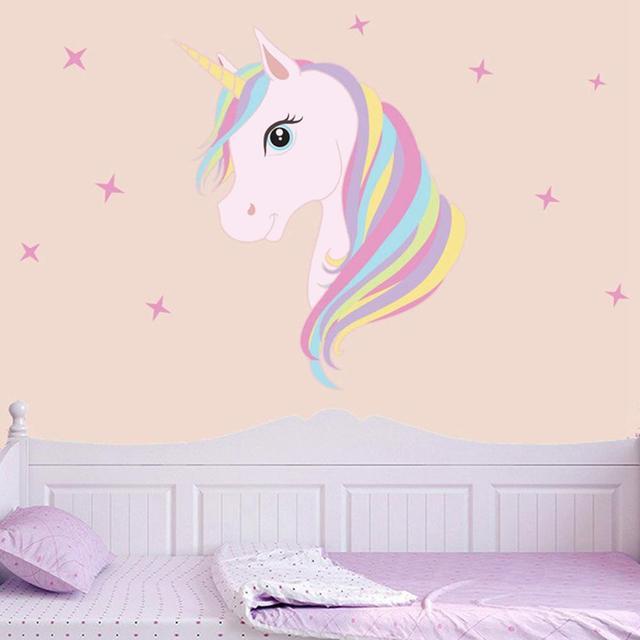 Diy Kolorowe Zwierzęta Koń Gwiazdy Kalkomanie ścienne Jednorożec