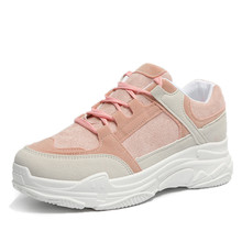 YeddaMavis Pink Shoes Women Casual Spring 2019 New Fashion Breathable Lace-Up Sneakers Woman Vulcanized