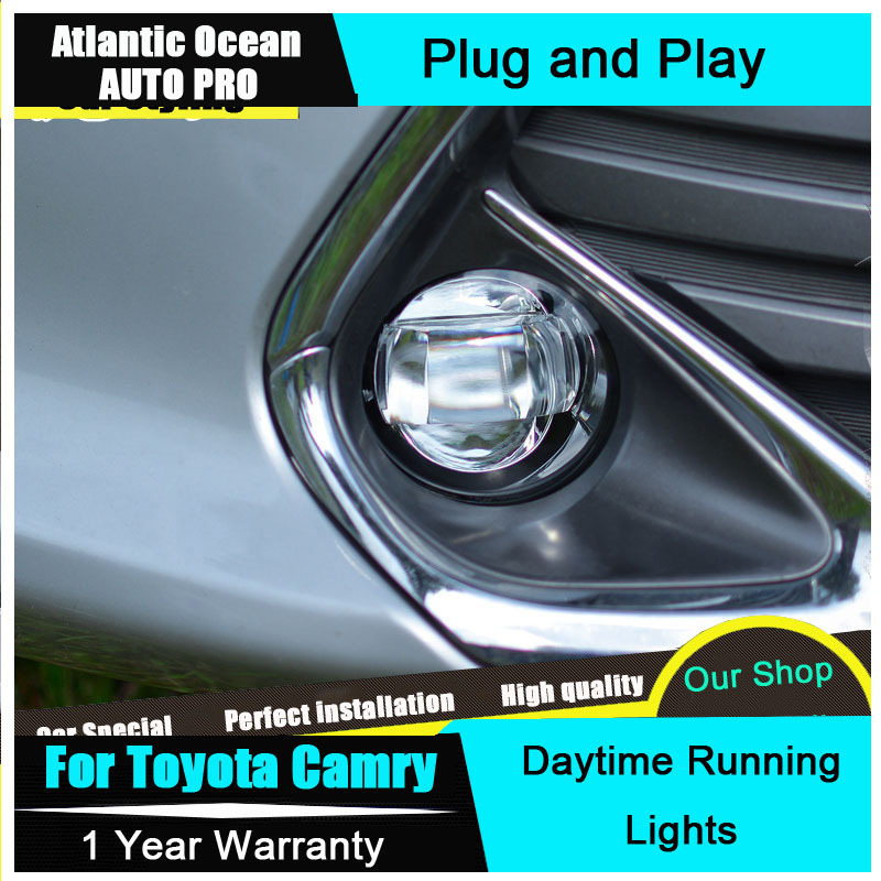 JGRT 2015 For Camry LED fog lights LED DRL Car Styling Camry LED Daytime Running Light LED driving lights Fog lamps car styling fog lights for toyota camry 2012 2014 pair of 12v 55w front fog lights bumper lamps daytime running lights