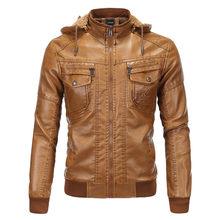74fbec87b62 2019 бренд Для мужчин с капюшоном Кожаные куртки и пальто осенние толстые  Курточка Бомбер мужской замшевая