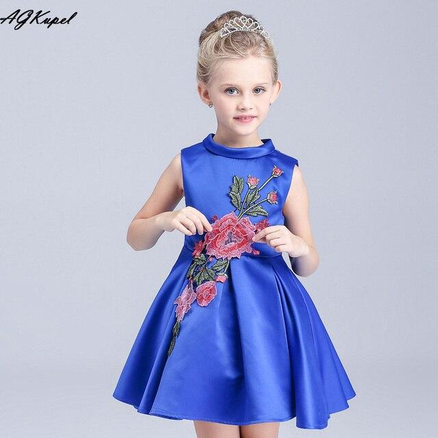 Hot 2016 Summer Girls Clothes Brand Designer Girls Princess Dresses Flower Print girl Dress baby girl clothes