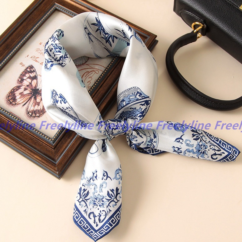 Small Square Silk   Scarf   Women Neckerchief Blue and White Printed 100% Pure Silk   Scarves   &   Wraps   Bandana Foulard Hand Rolled