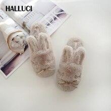 HALLUCI Rabbit velvet home slippers women shoes big ear chinelo Sweet plush slippers cute floor cotton pantufa sapatos mulher