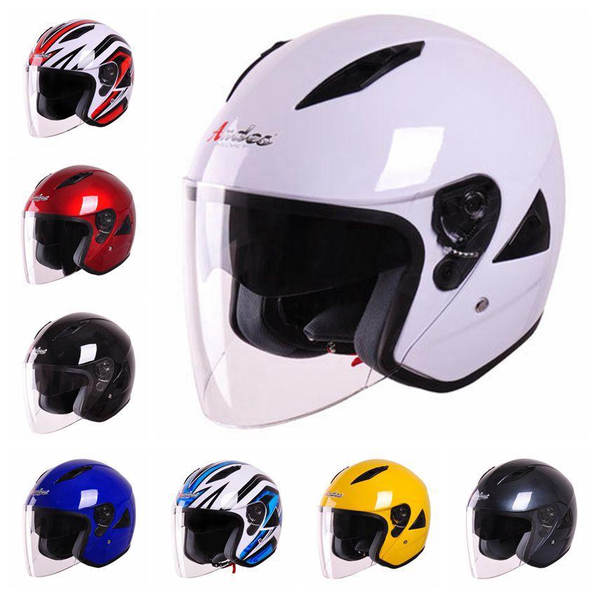 ФОТО 2015 New fashion double lens motorcycle Helmet Capacete motorcycle Motor bike Half Face Anti-UV autumn motocross Helmet Hat