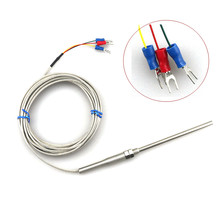 2 meters RTD PT100 Cable Stainless Probe 100mm 3 Wires -50 C to + 400 C Temperature Sensor(China)