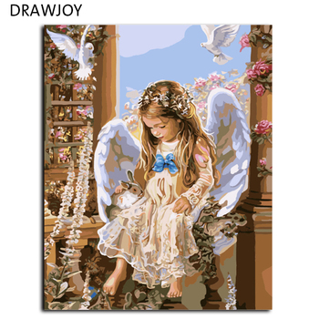 Framless 그림 숫자로 그림 거실 장식 diy 캔버스 유화 웨딩 장식 벽 예술 40*50 cm g425