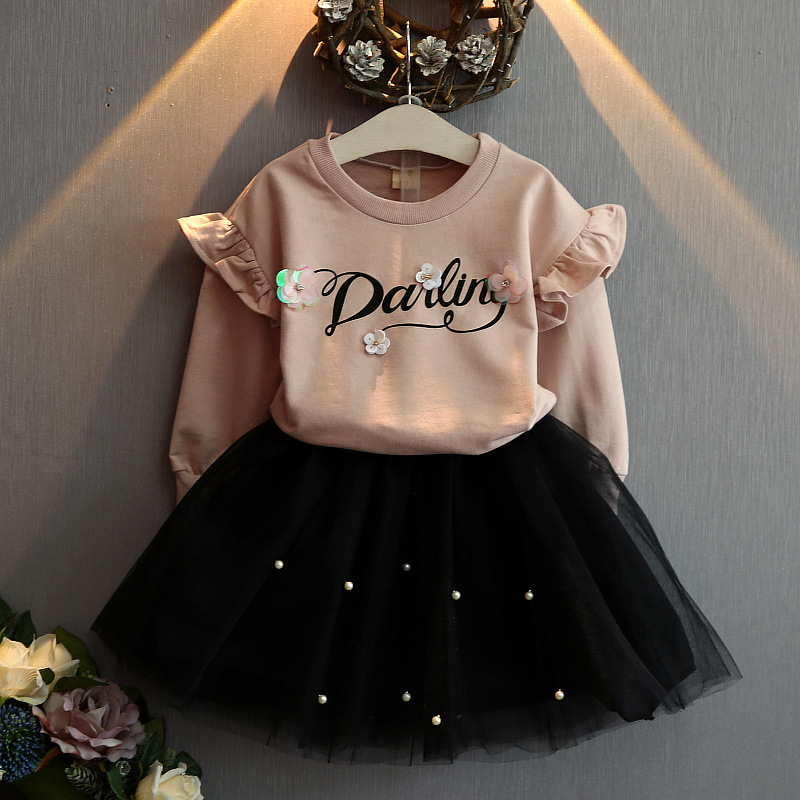 Toddler girl clothing new autumn girl clothes on flower printed letters and wool skirt pearl 2