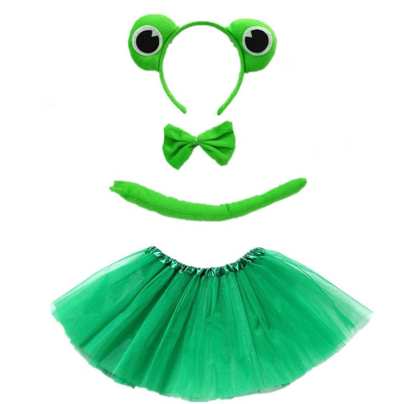 2020 New Frog Animal Cosplay Headband Tutu Skirt Tie Tail Set Boy Girl Children Party Props Christmas Halloween Costume For Kids