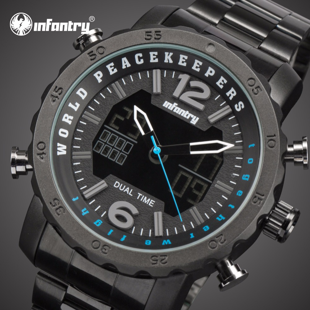 INFANTRY Mens Watches Top Brand Luxury Analog Digital Military Watch Men Big Aviator Black Watches for Men Relogio Masculino infantry mens watches top brand luxury chronograph military watch men luminous analog digital watches for men relogio masculino