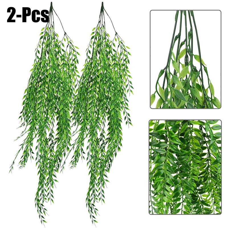 2PCS Artificial Hanging Plant Simulated Weeping Willow Artificial Plant Fake Hanging Plants Short And Long Pattern