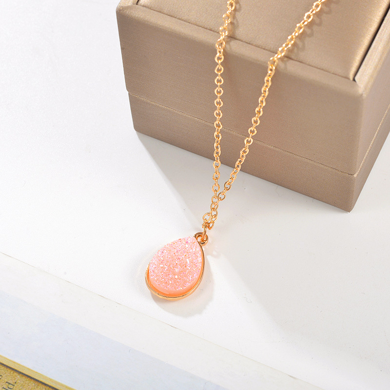 New Creative Water Droplet Pendant Necklace Women Fashion Sweet Crystal Gold Long Chain Statement Necklace Collares Jewelry in Pendant Necklaces from Jewelry Accessories