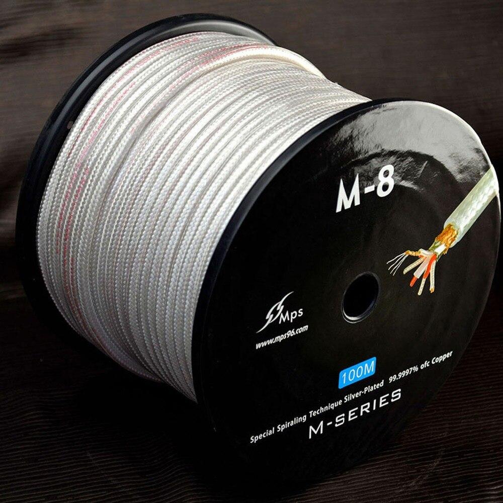 Linha de Sinal Fio de Sinal de Alta Fio de Áudio High-end Flagship Ofc Prata Chapeado Fidelidade Áudio Cabo Rca Linha Revestida 1 Metro Mps M-8 99.9997%