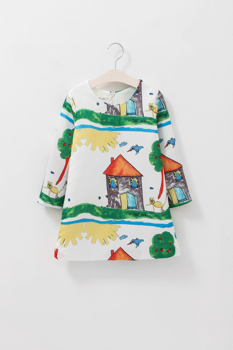 Baby Dress Girl Autumn Dresses Brand Girls Clothes Long Sleeve Floral Print Children Clothing For Teenager HB1205