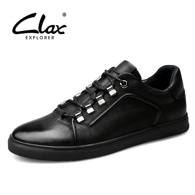 CLAX Men Leather Shoe Casual 2018 Spring Autumn Full Grain leather Leisure Footwear Male Fashion Shoes Soft Comfortable Big Size branded men s penny loafes casual men s full grain leather emboss crocodile boat shoes slip on breathable moccasin driving shoes