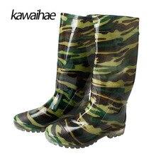 Сапоги на резиновой подошве Мужские ботинки дождь Сапоги и ботинки для девочек принт удобные Водонепроницаемый круглый носок бренд Для мужчин женские гольфы сапоги Kawaihae 2017