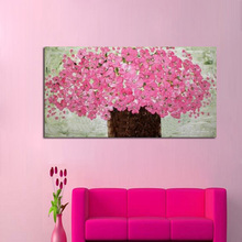 Free shipping High quality knife oil painting on canvas 100% Pink Flower decoration home art abstract modern