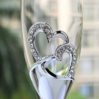 New Heart Shape Sliver Champagne Flutes Wedding Toasting Glassware 200ml Champagne Glass Metal Stand Wedding Gifts