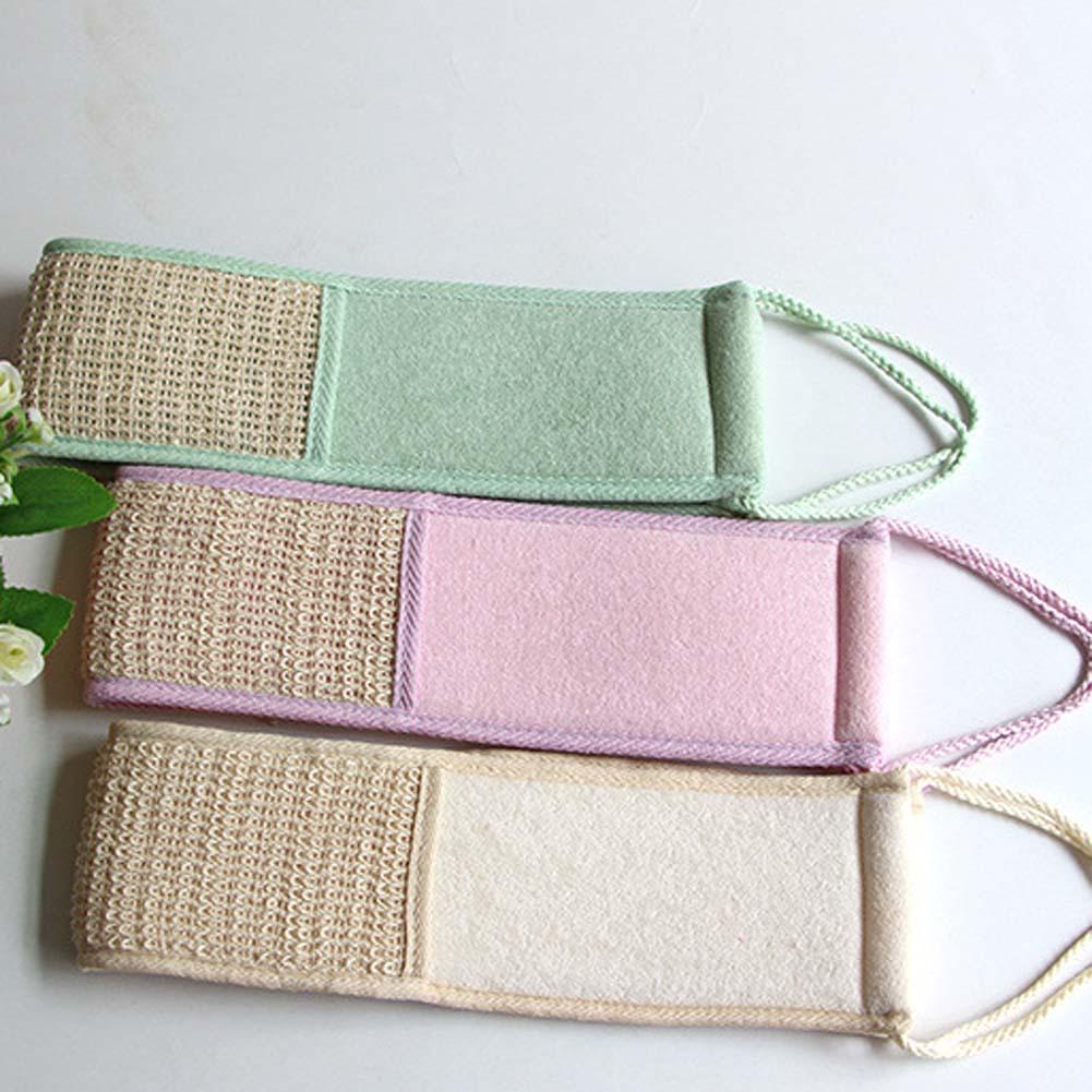 1pc! New Linen Bath Rub Brush Exfoliate Pull Back Strip Rub Back Belt Bath Towel Strong Rubbing
