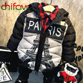 2017 Fashion Cool Style Kids Boys Winter Outerwear Jacket Paris Letter Eiffel Tower Pattern Hooded Collar Baby Boys Suits Coat
