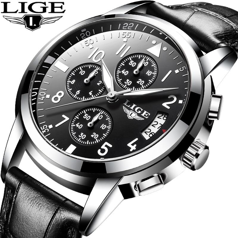 LIGE Men Casual Leather Business Clock Mens Watches Top Luxury Quartz Wrist Watch Men Sport Waterproof Chronograph Montre Homme