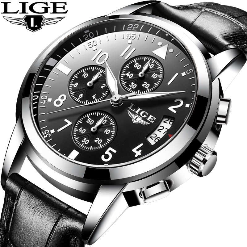 Reloj de negocios de cuero para hombre LIGE, reloj de pulsera de cuarzo de lujo, reloj deportivo resistente al agua para hombre